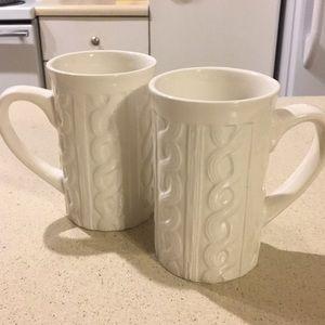 Cable knit mug set